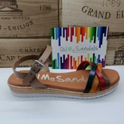 Sandalia Tiras Combinadas...